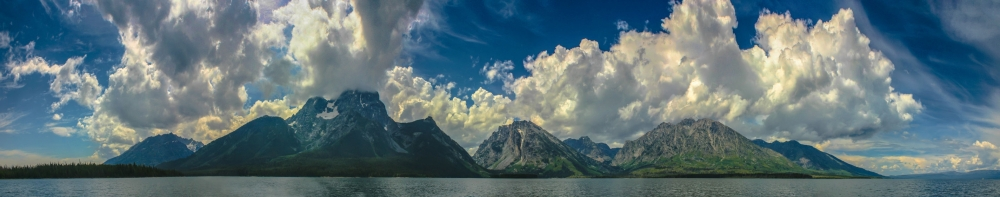 Storm clouds over the Grand Tetons from Jackson Lake, Wyoming