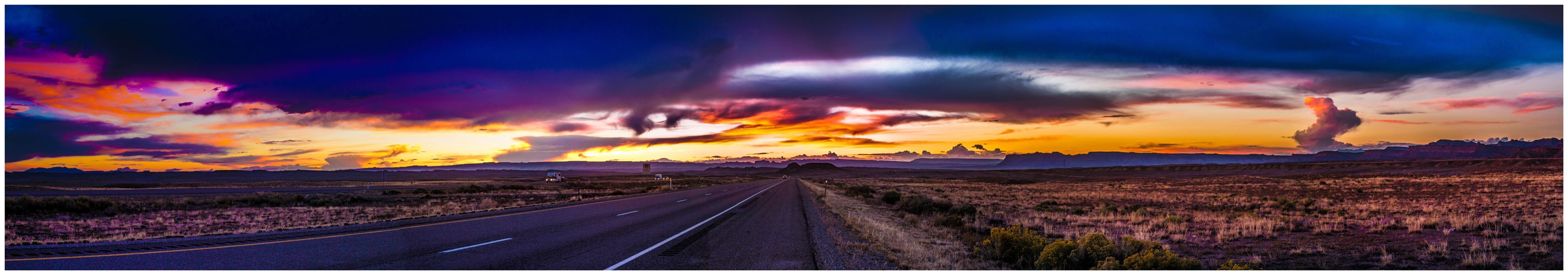 Sunset in eastern Utah from westbound I-70
